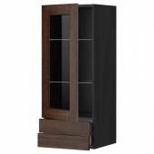 МЕТОД / МАКСИМЕРА Навесной шкаф/стекл дверца/2 ящика, черный, Эдсерум коричневый, 40x100 см