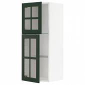 МЕТОД Навесной шкаф с полками/2 стекл дв, белый, Будбин темно-зеленый, 40x100 см